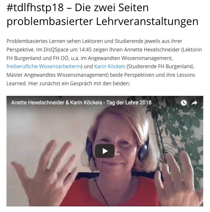 problembasiertes Lernen Vorabinterview Tag der Lehre Fh St. Pölten 2018